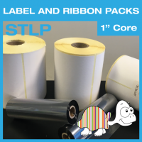 "Label and Ribbon Packs - 70mm x 35mm - Permanent Adhesive - 1"" Core"